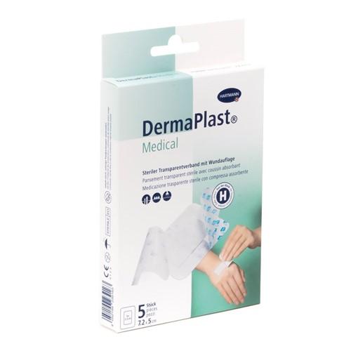 Image de DermaPlast Medical Pansement transparent 7.2×5cm, 5 pièces