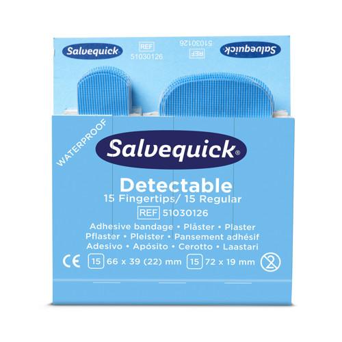 Image de Salvequick Pansements bleus détectables, 125 x 100 x 90 mm, P30